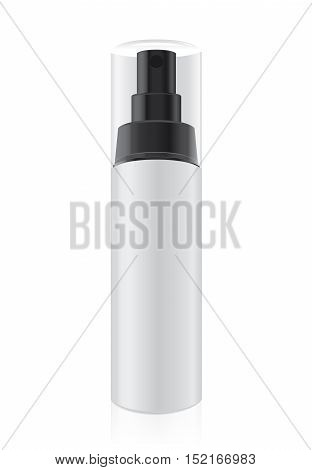 White cream bottle not have label which have transparency lid for cosmetic packaging job. This is vector file.