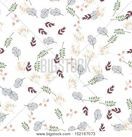 Floral seamless pattern with flowers and leaves. Vector illustration.