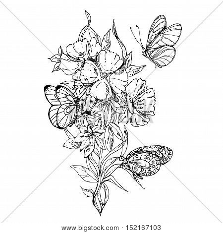 black and white floral ornament with godetia flower.