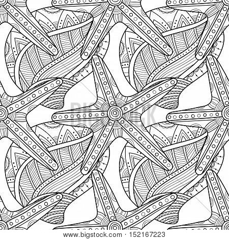 Black and white seamless pattern with decorative, ornamented sea shells for coloring book.