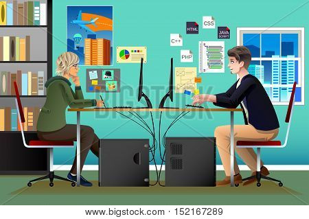 A vector illustration of Programmer and Designer Working in an Office