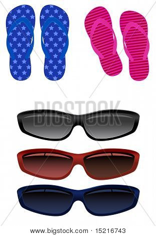 sandals for beach and sunglasses