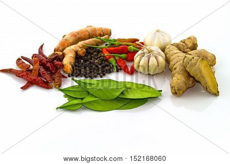 Fresh spices isolated on a white background