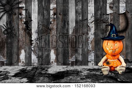 Halloween Background With Spider And Pumpkin Toy