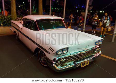 SINGAPORE - April 30: Retro car in Universal Studio park at Sentosa Island in Singapore on April 30, 2016.