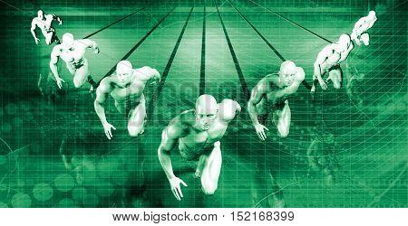 Businessmen Teamwork Running Together as a Concept in 3d Illustration Render