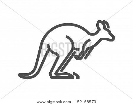 Black vector figure of kangaroo. Vector wallaby for web and design.