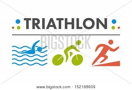 Vector cool logo for triathlon. Icon triathletes on a white background. Swimming cycling and running symbol.