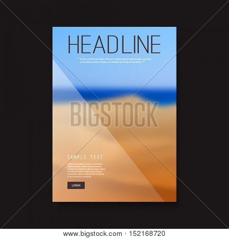 Business Flyer or Cover Design with Blurred Desert Image - Corporate Identity Design Template