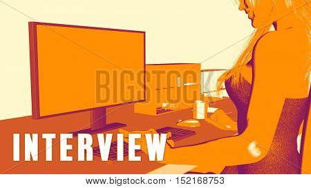 Interview Concept Course with Woman Looking at Computer 3d Illustration Render