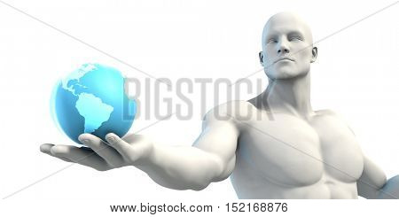 Businessman Holding a Globe as a Digital Hologram Concept 3d Illustration Render