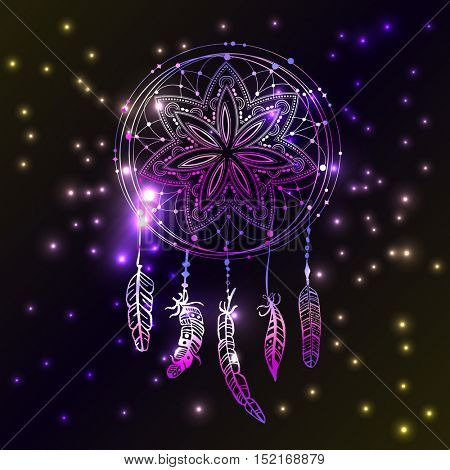 Abstract glowing dreamcatcher on night sky with flashes and stars. Luminescence vector illustration. Boho style background, ethnic design  for flyers, covers, tshirts, clothing, print and web design
