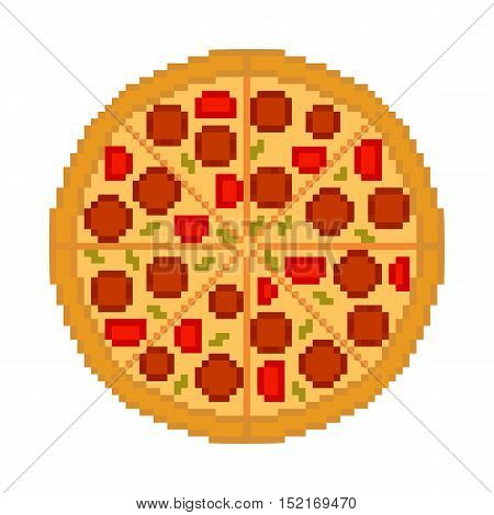 Vector cool tasty pizza on white background