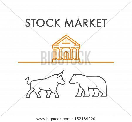 Line design concept for stock market. Linear silhouette figures bull and bear.