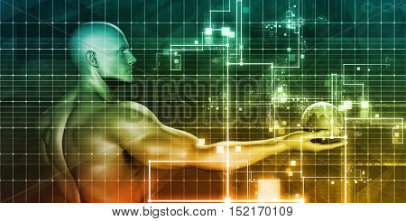 Software Security Technology as an Art Abstract 3d Illustration Render
