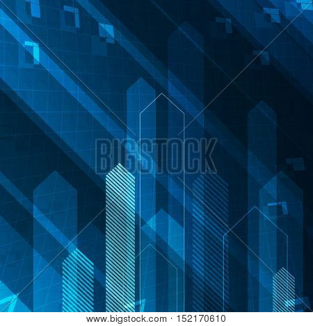 Up arrows on blue abstract technology background. Successful or teamwork concept illustration