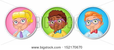 Vector set of young smart thinking school kids in glasses isolated on white background.