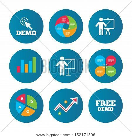 Business pie chart. Growth curve. Presentation buttons. Demo with cursor icon. Presentation billboard sign. Man standing with pointer symbol. Data analysis. Vector