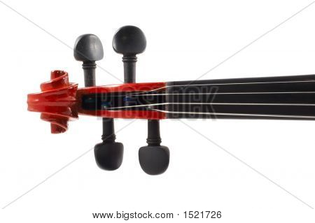 Violin Head Front View On White Background