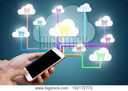 Man hand's holding smart phone with connect to network retail link for shopping online