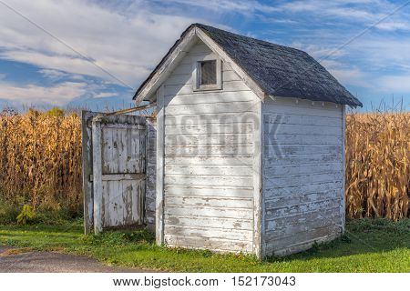 Distressed wood outhouse in rural United States with backdrop of corn.
