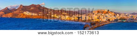 Panoramic view of Naxos island over sunset. Greece