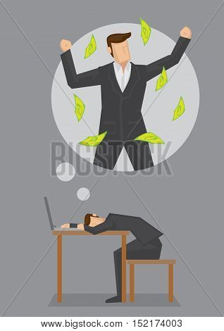 Businessman resting on his desk dreaming about becoming a rich man. Vector illustration on dreams and aspiration concept isolated on grey background.