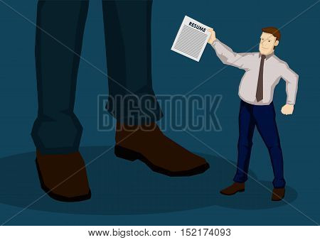 Cartoon businessman as job seeker handing his resume to unknown giant man representing employer. Creative vector illustration for employment and recruitment concept.