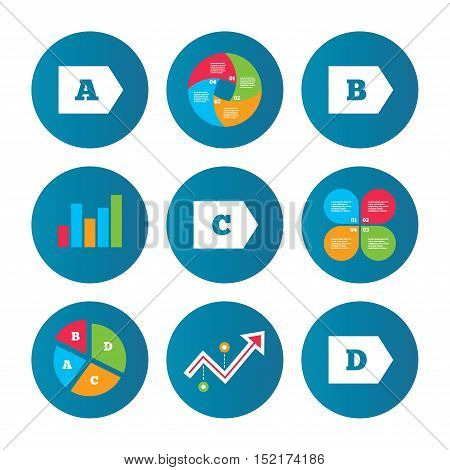 Business pie chart. Growth curve. Presentation buttons. Energy efficiency class icons. Energy consumption sign symbols. Class A, B, C and D. Data analysis. Vector