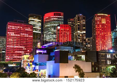 Sydney Australia - May 27 2016: Colourful illumination of Sydney CBD skyscrapers and Museum of Contemporary Art on annual lighting festival Vivid Sydney: Festival of Light Music and Ideas