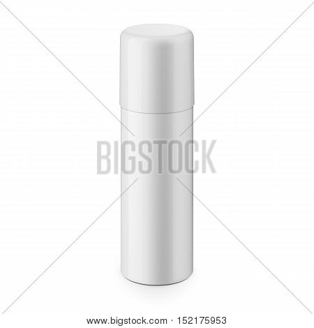 White glossy metal spray bottle with cap. Realistic packaging mockup template. Eye-level shot. Vector illustration.