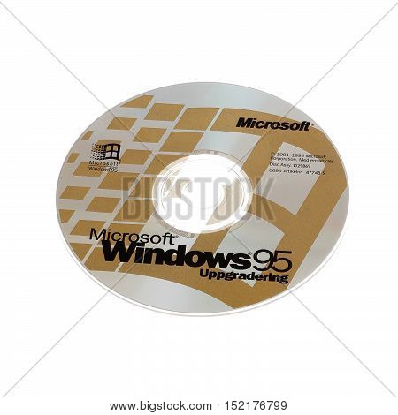 Stockholm, Sweden - December 15, 2014: One CD-ROM disk with the Swedish version of the operating system Microsoft Windows 95 upgrade isolated on white background.