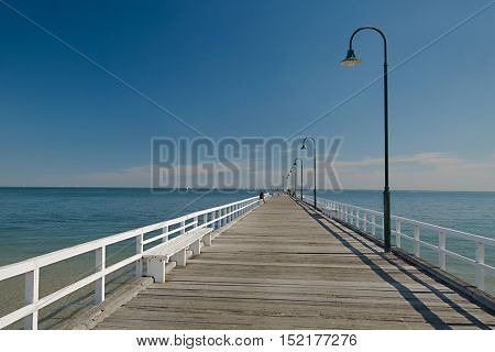 Pier in the sea in summer weather