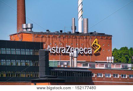 Sodertalje, Sweden - July 30, 2012: AstraZeneca's manufacturing facility at Snackviken in Sodertalje.