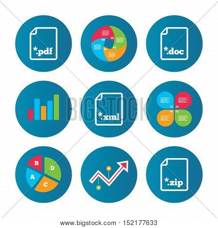 Business pie chart. Growth curve. Presentation buttons. Download document icons. File extensions symbols. PDF, ZIP zipped, XML and DOC signs. Data analysis. Vector
