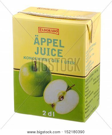 Stockholm, Sweden - February 15, 2014: A pack Eldorado concentrated appel juice 2 dl. Eldorado is a trademark of Axfood whose products are sold in the Swedish spirit of Axfood stores: Willys Willys Hemma Hemk