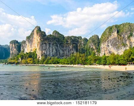 The tropical landscape. Railay, Krabi, Thailand. View of the rock and boat