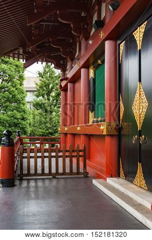 Tokyo Japan - August 29 2016: Outer wall and decorated doors of Senso-ji Asakusa Kannon temple famous place and one of the main tourist attractions of Tokyo Japan