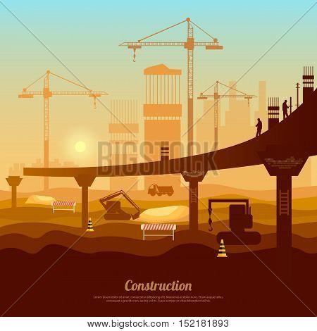 Bridge construction professional modern large scale construction vector