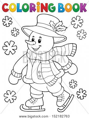 Coloring book skating snowman theme 1 - eps10 vector illustration.