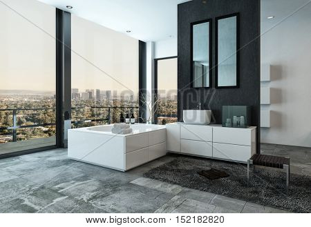 Upmarket stylish bathroom interior with grey stone tiled floor overlooking a city through huge floor-to-ceiling windows and a door leading to a patio, 3d rendering