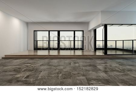 Huge bare unfurnished open plan loft or apartment living room interior with stone tiles leading to an elevated wood floor with wrap around view windows and exterior patio, 3d rendering