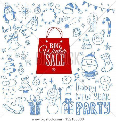 Vector illustration of Winter sale poster with Christmas doodles. Badge. Doodle megaset.