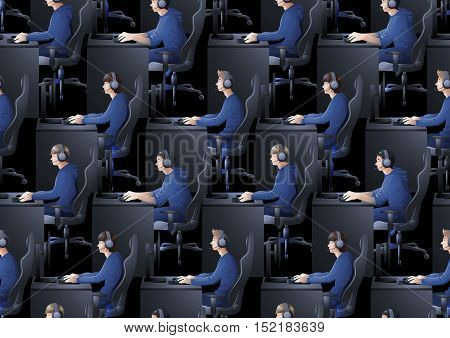 Young man sitting at the table and playing computer. Side view. Cyber sport concept. Vector seamless pattern