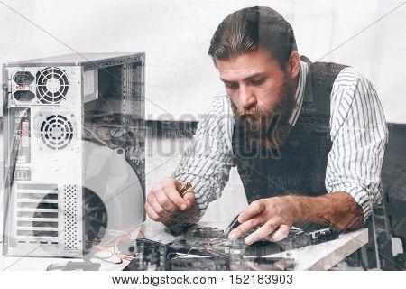 Engineer repairing CPU components, double exposure. Bearded repairman fixing computer circuit at repair shop. Electronic development, construction, renovation concept