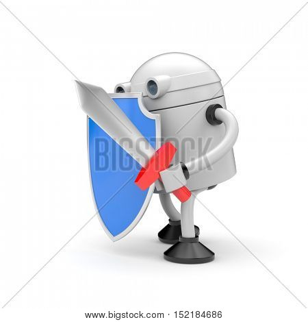 Robot ready to fight. Robot with blue shiled and sword. 3d illustration