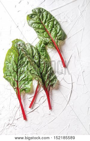 Swiss Rainbow Chard, Vibrant Vegetable. Flat Lay, From Above On