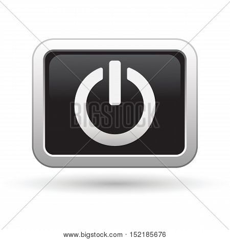 Power icon on the button. Vector illustration