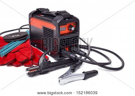 Inverter welding machine, welding equipment, isolated on a white background, leather gloves, welding electrodes, set of accessories for arc welding