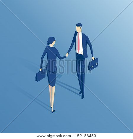 Businessman and businesswoman shake hands isometric illustration business concept agreement and partnership